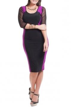 Purple Ladies Plus Size High Low Patchwork Clubwear Dress