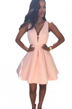 Pink Ladies V Neck Backless Clubwear Dress