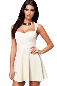 White Ladies Plus Size Backless Skater Dress