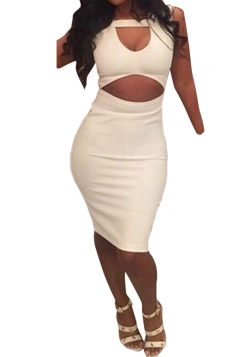 White Plain Cut Out Sleeveless Sexy Womens Clubwear Dress
