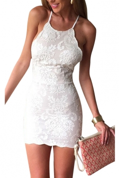 White Halter Embroidered Backless Sexy Chic Ladies Bodycon Dress