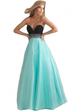 Blue Deep V Neck Backless Chiffon Ladies Evening Dress