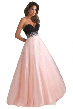 Pink Deep V Neck Chiffon Ladies Evening Dress