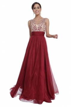 Red Sexy Lace Backless Patchwork Ladies Evening Dress
