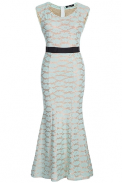 Turquoise Ladies Sexy Lace Jacquard Sleeveless Evening Dress
