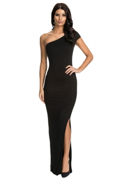 Black Sexy Womens One Shoulder Evening Dress