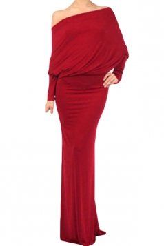 Red Ladies Slit Boat Neck Plain Maxi Evening Dress