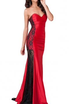 Red Lace Patchwork Sheer Off Shoulder Sexy Ladies Evening Dress