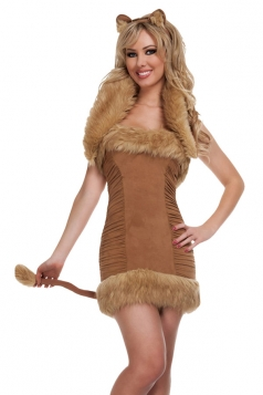 Brown Cosplay Off Shoulder Sexy Womens Cat Halloween Costume