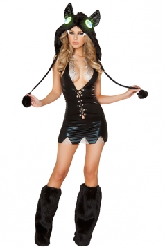 Black Womens Sexy Vampire Bat Halloween Costume