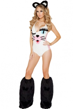White Womens Sexy Cute Cat Halloween Costume
