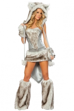 White Sexy Attractive Womens Cat Halloween Costume