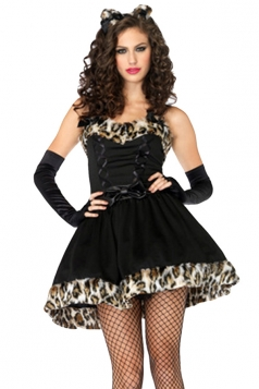 Black Sexy Chic Womens Leopard Halloween Costume