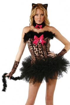 Black Off Shoulder Sexy Chic Womens Halloween Cat Costume