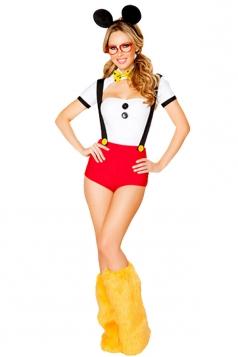 White Cosplay Womens Mickey Halloween Cartoon Costume