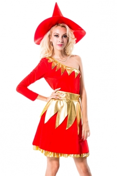 Red One Shoulder Chic Womens Witch Halloween Costume