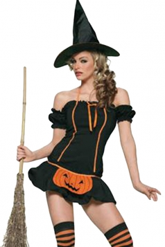 Black Halter Ruffle Sexy Womens Witch Halloween Costume