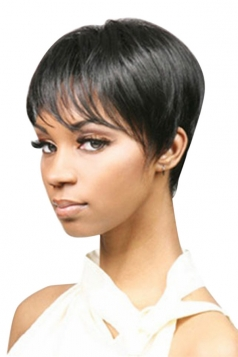 Black Attractive Straight Cosplay Womens Short Hair Wig