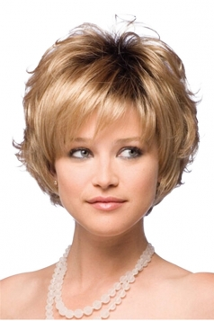 Gold Pretty Little Curly Cosplay Ladies Short Hair Wig