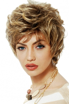 Gold Fashion Little Curly Cosplay Ladies Short Hair Wig