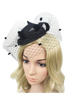 Black Mesh Veil Elegant Fashion Womens Hairclip