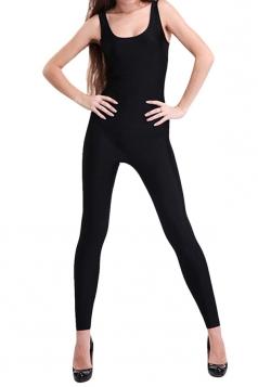 Black Round Neck Womens Plain Shiny Ladies Catsuit