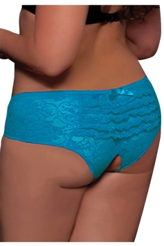 Blue Sexy Womens Lace Cut Out Panty