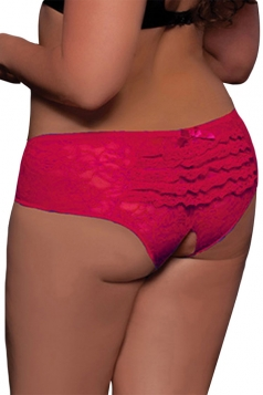 Rose Red Sexy Womens Lace Cut Out Panty