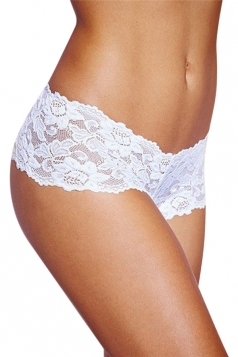 White Plus Size Lace See Through Sexy Womens Panty