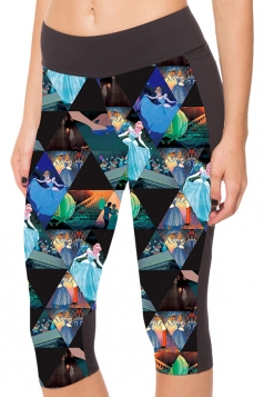 Blue Slimming Pocket Cinderella Printed Womens Cropped Leggings