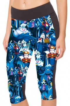 Blue Slimming Pocket Evil Queen Printed Womens Cropped Leggings