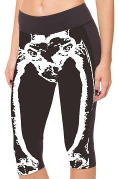 White Slimming Skeleton Printed Pocket Womens Cropped Leggings