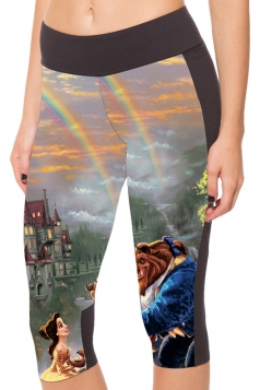 Gray Slimming Beauty and Beast Printed Pocket Womens Cropped Leggings