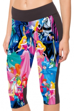 Blue Womens Slimming Cartoon Character Printed Pocket Cropped Leggings