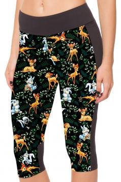 Black Womens Slimming Deer and Rabbit Printed Pocket Cropped Leggings