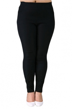 White Plus Size Plain Elastic Leggings
