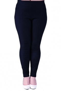 Navy Blue Plus Size Plain Elastic Leggings