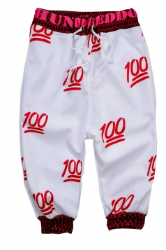 Red  Ladies Fashion Emoji Printed Leisure Pants