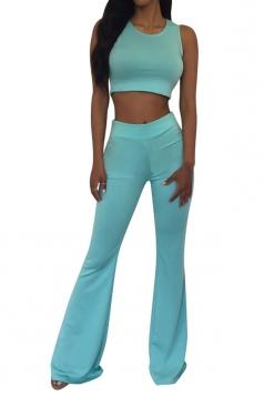 Blue Crop Top Bell Bottom Ladies Sleeveless Pants Suit