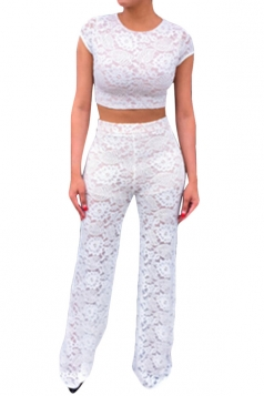 White Lace Ladies See Through Pants Suit