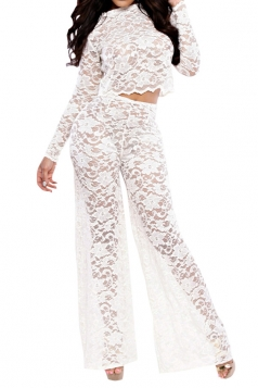 White Lace Bell Bottom Ladies See Through Pants Suit