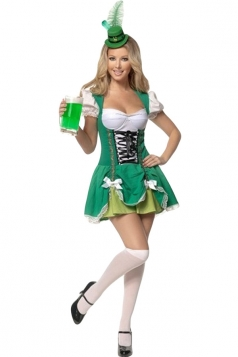 Green Sexy Ladies American Beer Girl Maid Costume