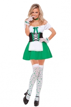 Green Adult Cosplay Beer Girl Halloween Maid Costume