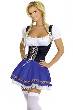 Blue Ladies Sweet Lace Beer Maid Costume