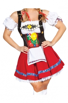 Red Ladies Sweet Maid Costume Top&Skirt