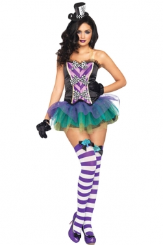 Purple Ladies Crazy Hat Maid Costume Hat&Gloves