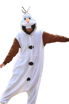 White Cute Frozen Olaf Womens Jumpsuit Pajamas Costume