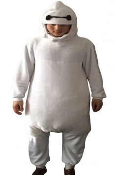 White Cute Baymax Flannel Womens Jumpsuit Pajamas Costume