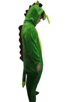 Green Cute Drangon Flannel Womens Jumpsuit Pajamas Costume