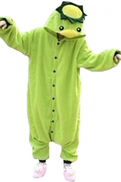 Green Cute Kappa Flannel Womens Jumpsuit Pajamas Costume